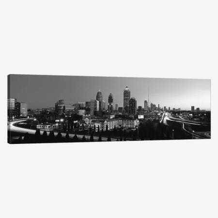 Atlanta Panoramic Skyline Cityscape (Black & White) 3-Piece Canvas #6143} by Unknown Artist Canvas Art