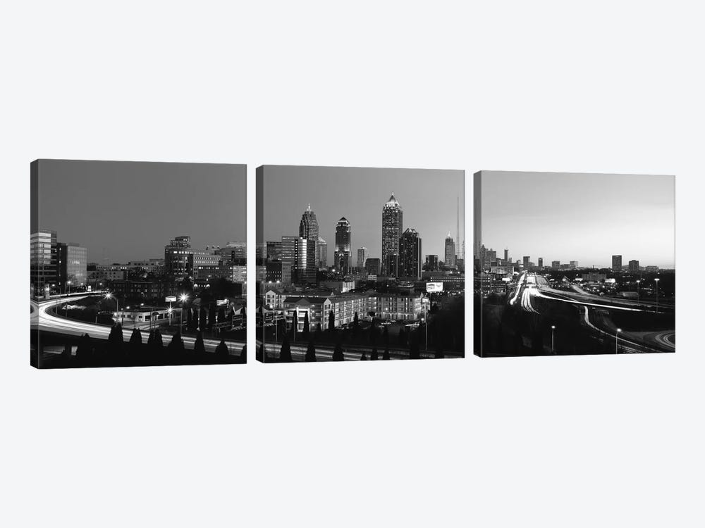 Atlanta Panoramic Skyline Cityscape (Black & White) by Unknown Artist 3-piece Canvas Art