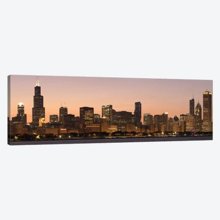 Chicago Panoramic Skyline Cityscape (Dusk) Canvas Print #6145} Art Print