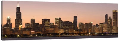 Chicago Panoramic Skyline Cityscape (Dusk) Canvas Art Print