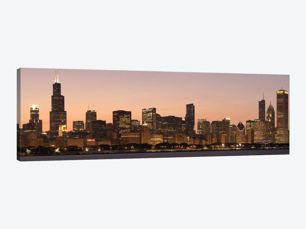 Chicago Panoramic Skyline Cityscape (Dusk) by Unknown Artist 1-piece Canvas Art