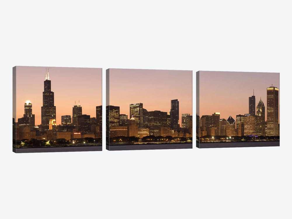 Chicago Panoramic Skyline Cityscape (Dusk) by Unknown Artist 3-piece Canvas Art