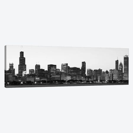 Chicago Panoramic Skyline Cityscape (Black & White - Dusk) Canvas Print #6146} Canvas Art Print