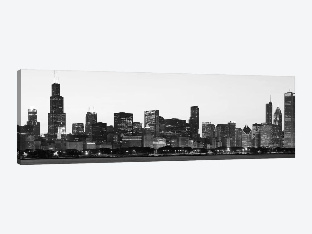 Chicago Panoramic Skyline Cityscape (Black & White - Dusk) 1-piece Canvas Print