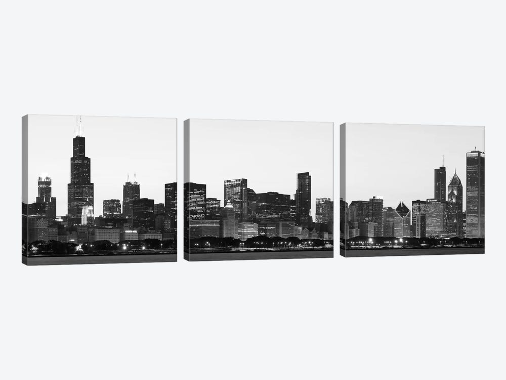 Chicago Panoramic Skyline Cityscape (Black & White - Dusk) 3-piece Canvas Print