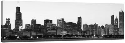 Chicago Panoramic Skyline Cityscape (Black & White - Dusk) Canvas Art Print