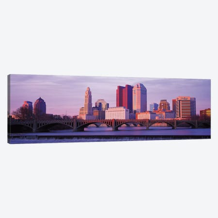 Columbus Panoramic Skyline Cityscape (Dusk) Canvas Print #6148} by Unknown Artist Canvas Artwork