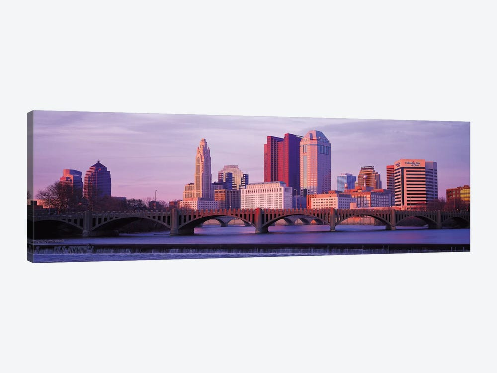 Columbus Panoramic Skyline Cityscape (Dusk) 1-piece Canvas Art Print