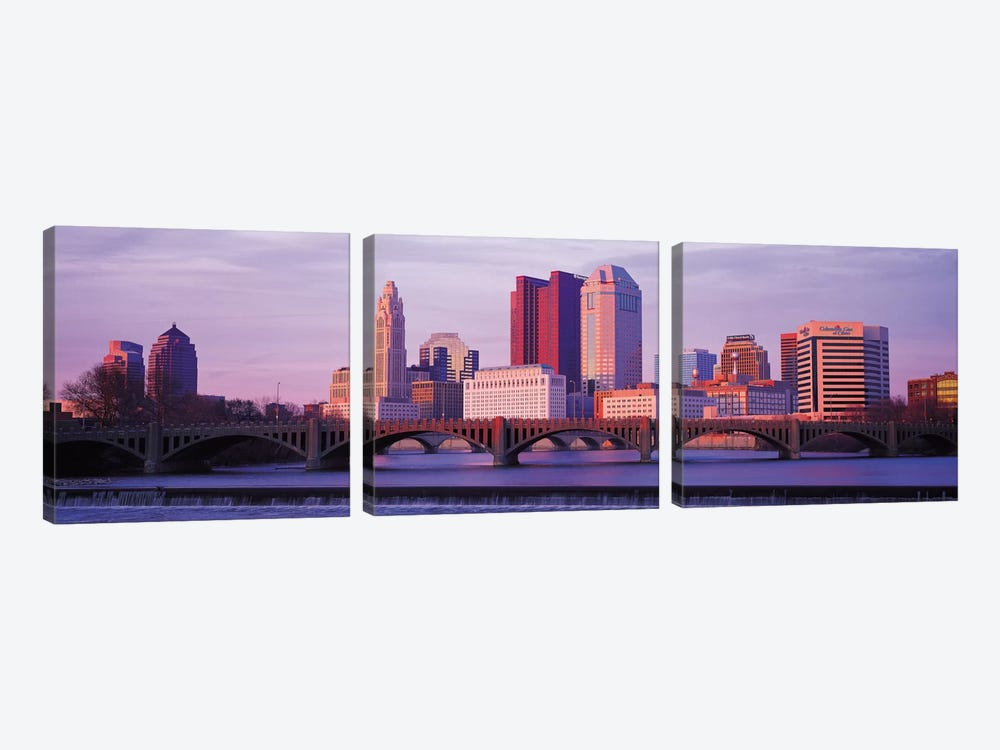 Columbus Panoramic Skyline Cityscape (Dusk) 3-piece Canvas Print