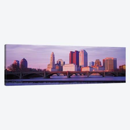 Columbus Panoramic Skyline Cityscape (Dusk) Canvas Print #6148} by Unknown Artist Canvas Artwork