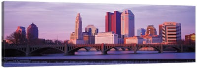 Columbus Panoramic Skyline Cityscape (Dusk) Canvas Art Print