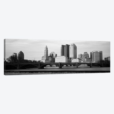 Columbus Panoramic Skyline Cityscape (Black & White - Dusk) Canvas Print #6149} by Unknown Artist Canvas Art
