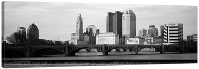 Columbus Panoramic Skyline Cityscape (Black & White - Dusk) Canvas Print #6149
