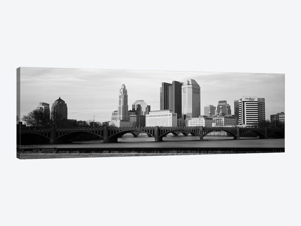 Columbus Panoramic Skyline Cityscape (Black & White - Dusk) 1-piece Canvas Artwork