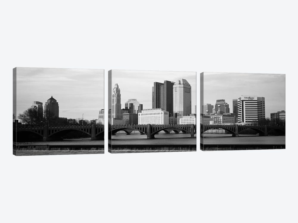 Columbus Panoramic Skyline Cityscape (Black & White - Dusk) 3-piece Canvas Artwork