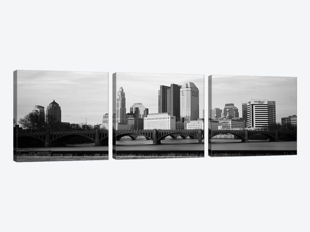 Columbus Panoramic Skyline Cityscape (Black & White - Dusk) by Unknown Artist 3-piece Canvas Artwork