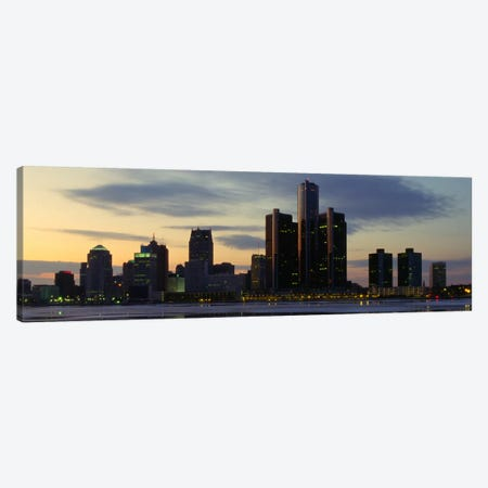 Detroit Panoramic Skyline Cityscape (Dusk) Canvas Print #6150} Art Print