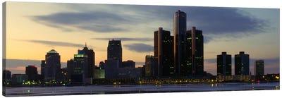 Detroit Panoramic Skyline Cityscape (Dusk) Canvas Print #6150