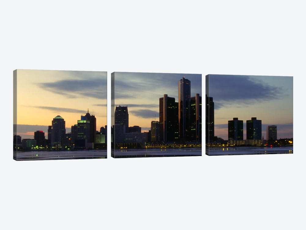 Detroit Panoramic Skyline Cityscape (Dusk) 3-piece Canvas Artwork