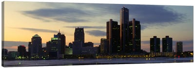 Detroit Panoramic Skyline Cityscape (Dusk) Canvas Art Print