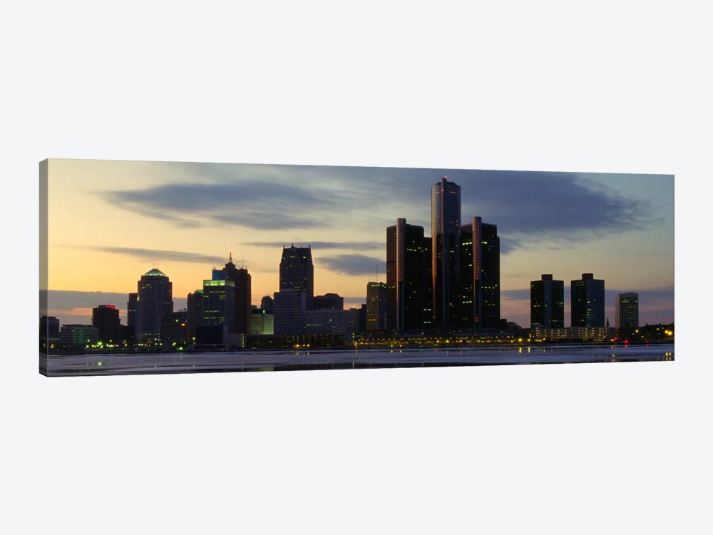 Detroit Panoramic Skyline Cityscape (Dusk) by Unknown Artist 1-piece Canvas Art