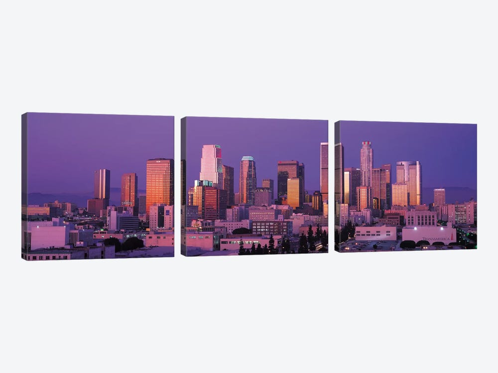 Los Angeles Panoramic Skyline Cityscape (Dusk) by Unknown Artist 3-piece Canvas Print