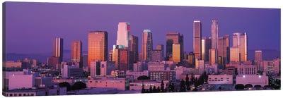 Los Angeles Panoramic Skyline Cityscape (Dusk) Canvas Art Print