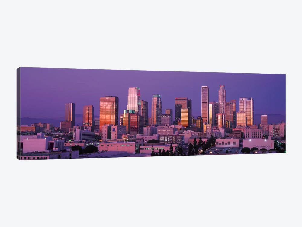 Los Angeles Panoramic Skyline Cityscape (Dusk) by Unknown Artist 1-piece Canvas Print