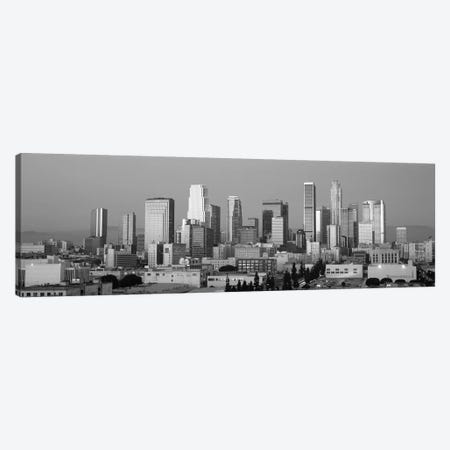 Los Angeles Panoramic Skyline Cityscape (Black & White - Dusk) Canvas Print #6155} by Unknown Artist Canvas Wall Art