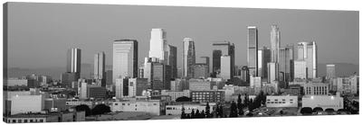 Los Angeles Panoramic Skyline Cityscape (Black & White - Dusk) Canvas Print #6155