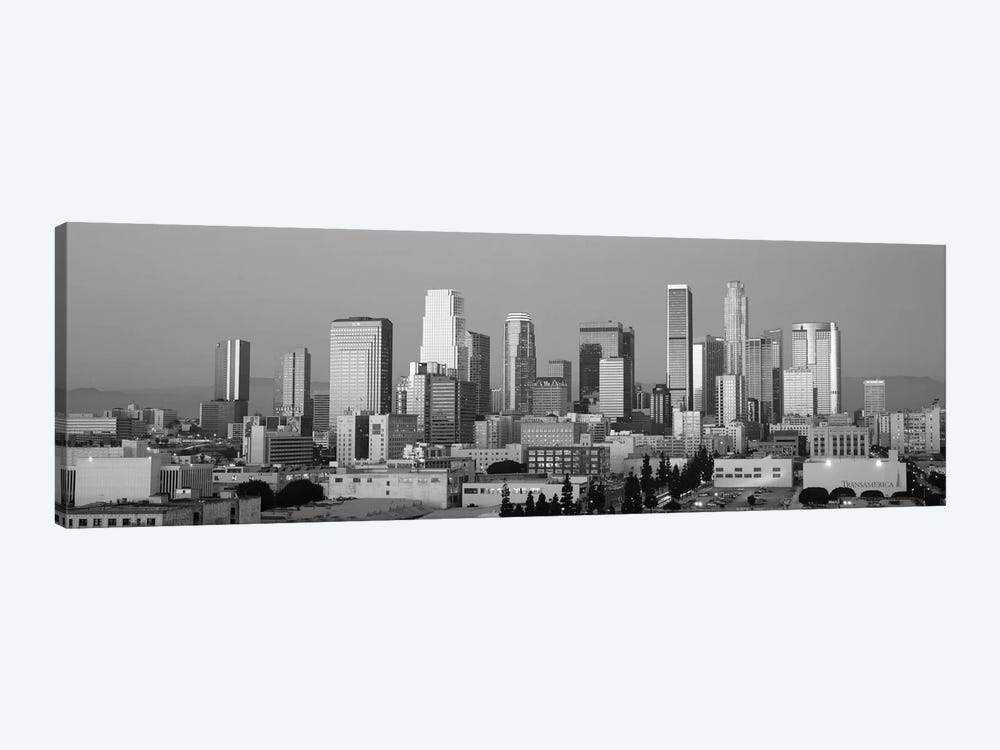 Los Angeles Panoramic Skyline Cityscape (Black & White - Dusk) 1-piece Canvas Print