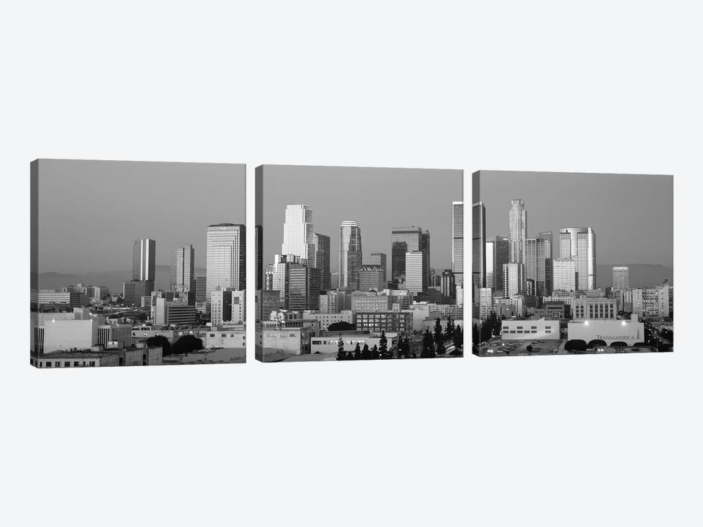 Los Angeles Panoramic Skyline Cityscape (Black & White - Dusk) by Unknown Artist 3-piece Art Print