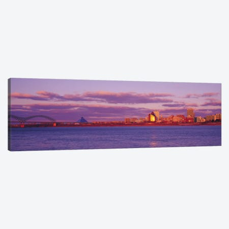 Memphis Panoramic Skyline Cityscape (Dusk) Canvas Print #6156} by Unknown Artist Canvas Artwork