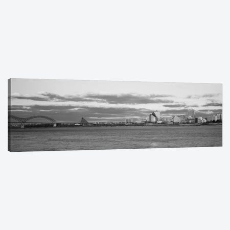 Memphis Panoramic Skyline Cityscape (Black & White - Dusk) Canvas Print #6157} Canvas Wall Art