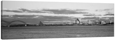 Memphis Panoramic Skyline Cityscape (Black & White - Dusk) Canvas Art Print