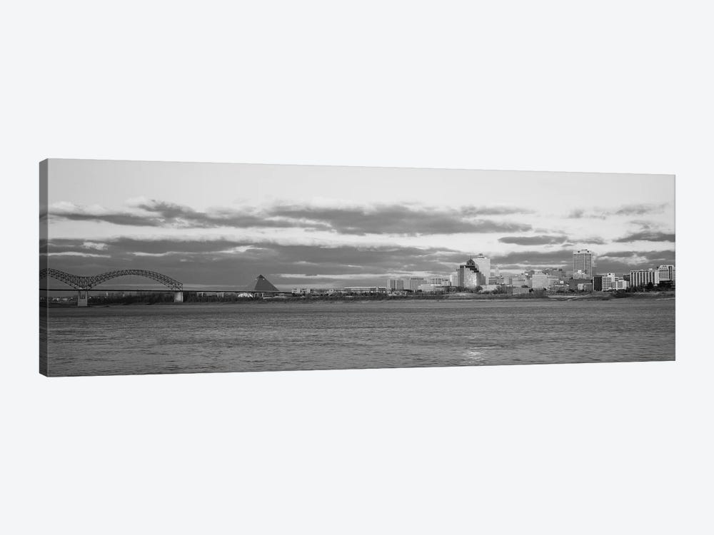 Memphis Panoramic Skyline Cityscape (Black & White - Dusk) by Unknown Artist 1-piece Canvas Print