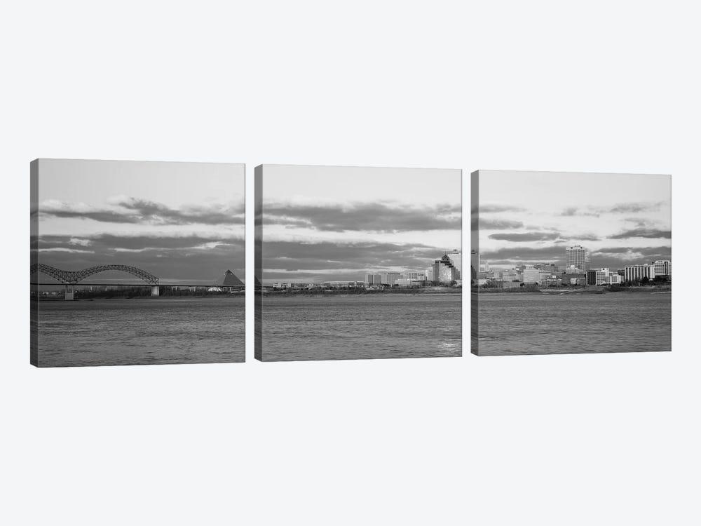 Memphis Panoramic Skyline Cityscape (Black & White - Dusk) by Unknown Artist 3-piece Art Print
