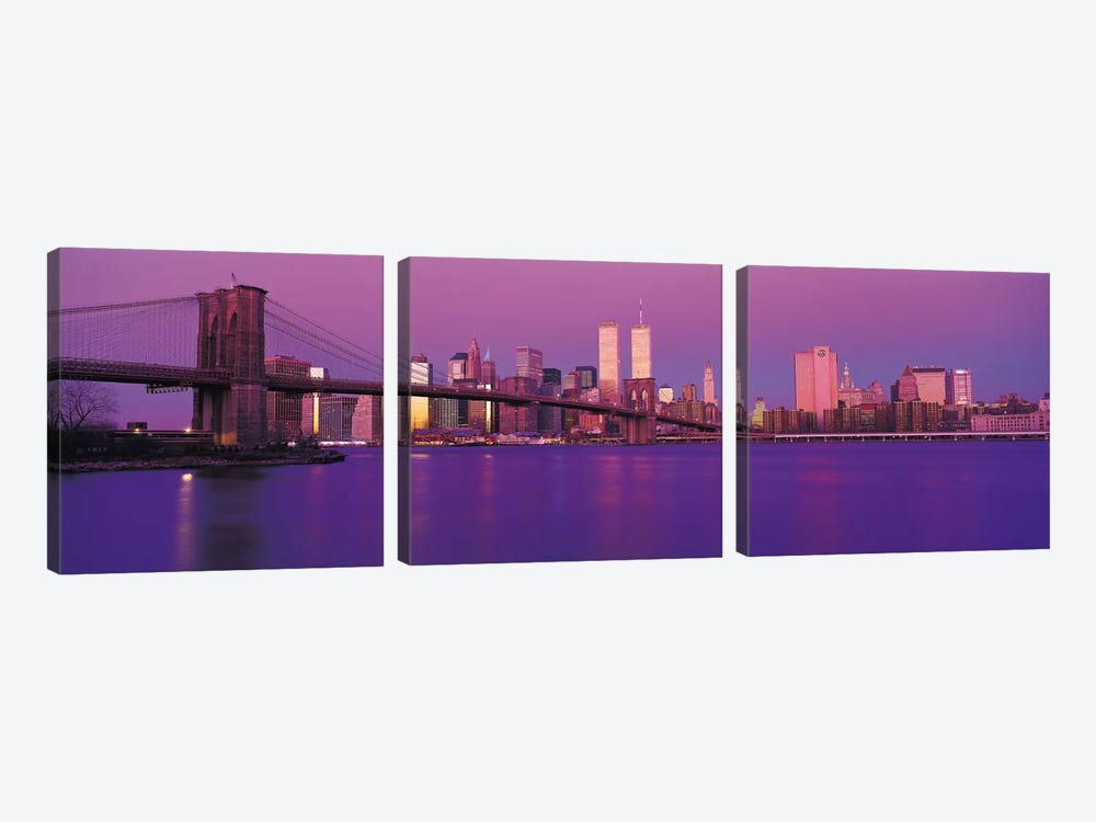 New York Panoramic Skyline Cityscape (Dusk) by Unknown Artist 3-piece Canvas Art