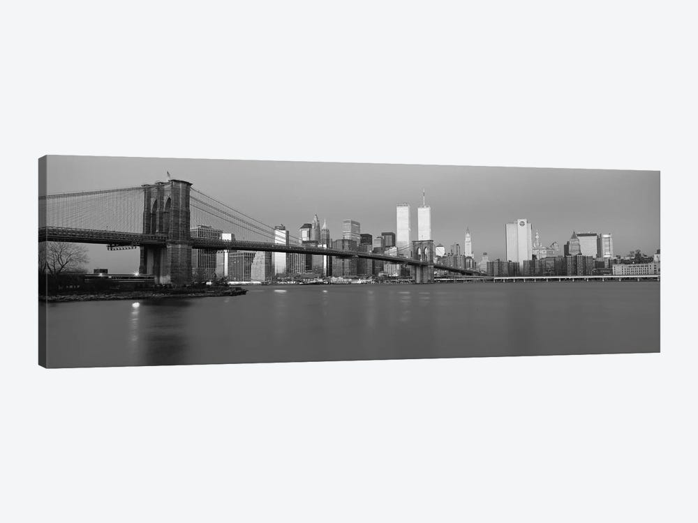 New York Panoramic Skyline Cityscape (Black & White - Dusk) by Unknown Artist 1-piece Art Print