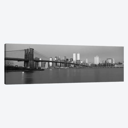 New York Panoramic Skyline Cityscape (Black & White - Dusk) Canvas Print #6162} by Unknown Artist Canvas Artwork