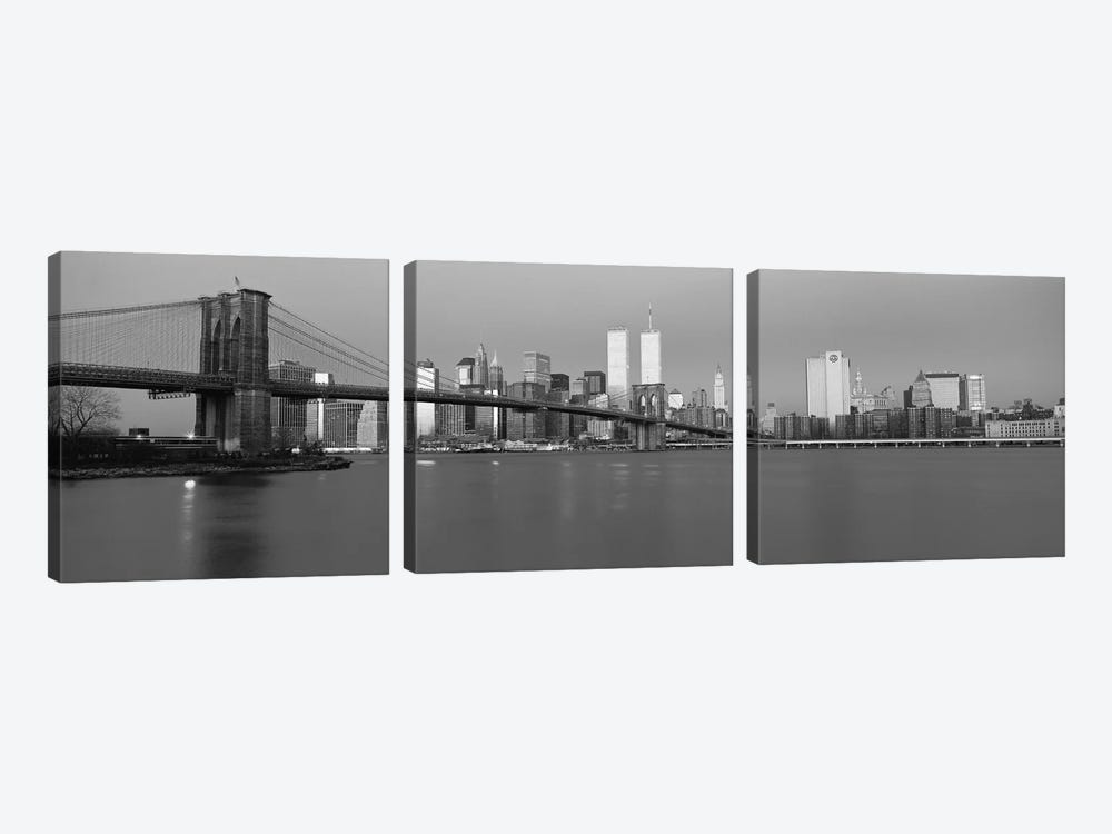 New York Panoramic Skyline Cityscape (Black & White - Dusk) by Unknown Artist 3-piece Art Print