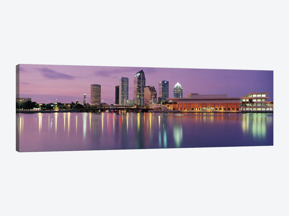 Tampa Panoramic Skyline Cityscape (Dusk) 1-piece Canvas Wall Art