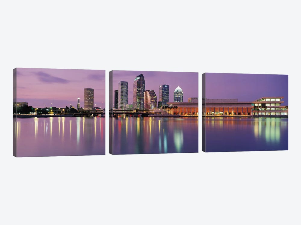 Tampa Panoramic Skyline Cityscape (Dusk) by Unknown Artist 3-piece Canvas Art