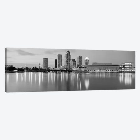 Tampa Panoramic Skyline Cityscape (Black & White - Dusk) Canvas Print #6166} Canvas Print