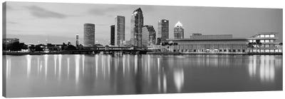 Tampa Panoramic Skyline Cityscape (Black & White - Dusk) Canvas Art Print