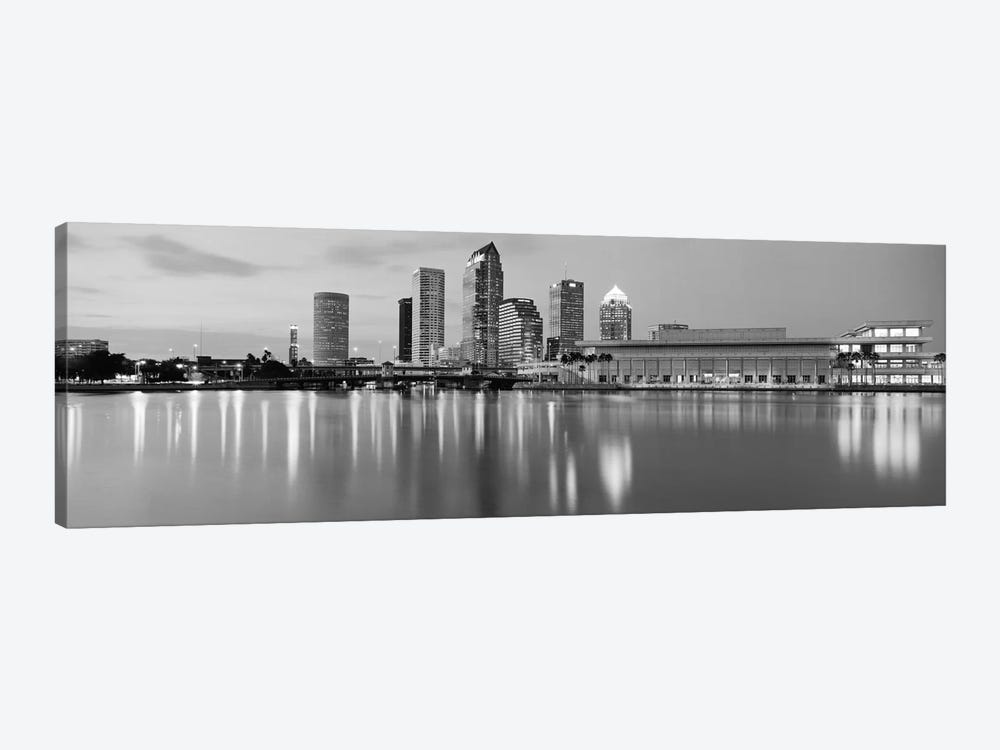 Tampa Panoramic Skyline Cityscape (Black & White - Dusk) 1-piece Canvas Print