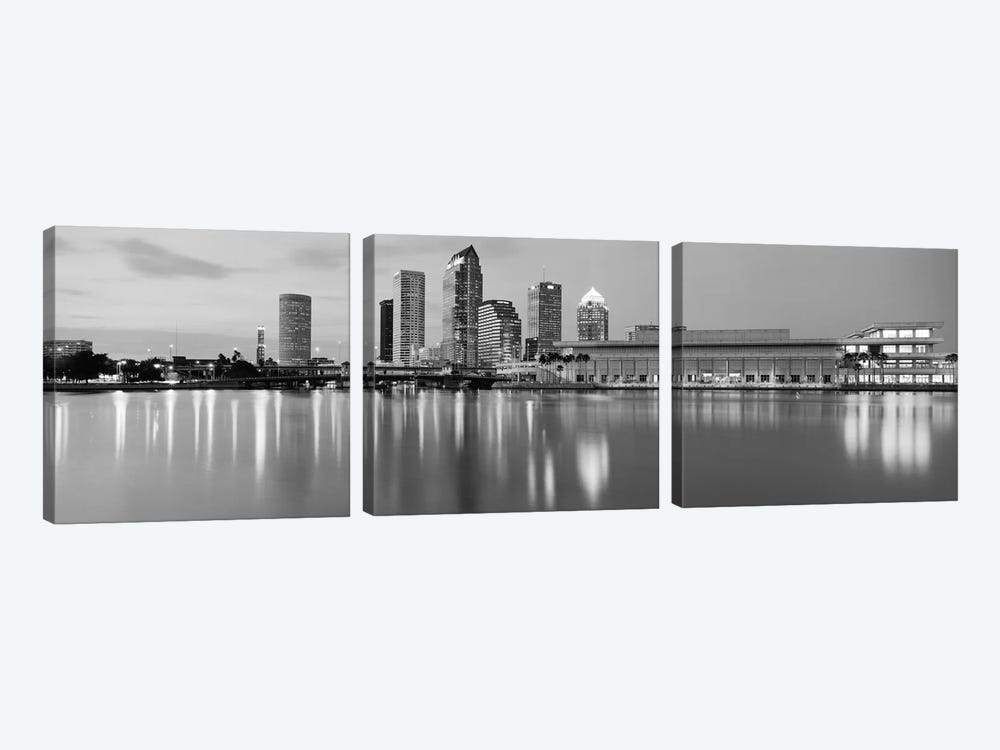 Tampa Panoramic Skyline Cityscape (Black & White - Dusk) by Unknown Artist 3-piece Canvas Print