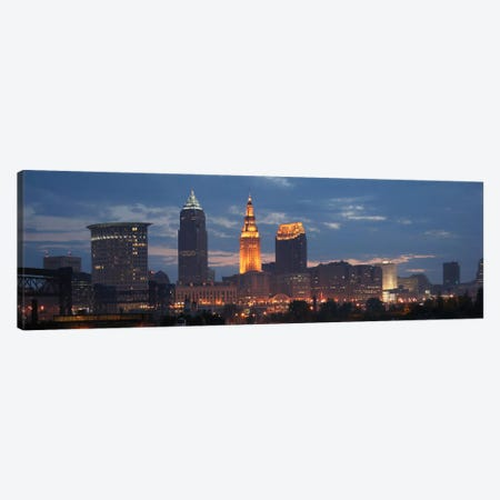 Cleveland Panoramic Skyline Cityscape (Dusk) Canvas Print #6167} by Unknown Artist Art Print