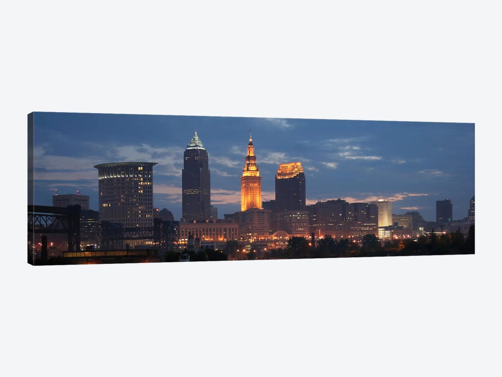 Cleveland Panoramic Skyline Cityscape (Dusk) by Unknown Artist 1-piece Canvas Art