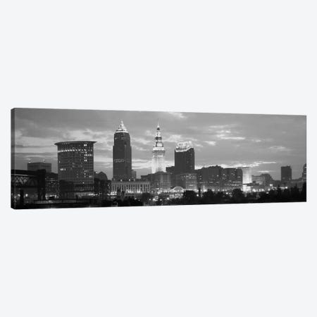 Cleveland Panoramic Skyline Cityscape (Black & White - Dusk) Canvas Print #6168} Canvas Wall Art